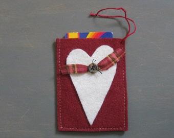 Valentine's Day Gift Card Holder - Heart w/ Button - Maroon Felt w/ Ivory Felt Heart - Love- Anniversary - Wedding -Reusable - Ornament