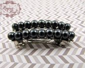 French Barrettes - Smoke - Set of 2 - steel grey glass pearls on steel french barrettes for girls, teens, and women by reynared