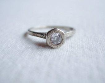 Victorian Art Deco 14k Solid White Gold Diamond Ring 1920's 6.5