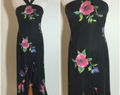 Gorgeous 70's Black Floral Print Halter Ruffle Dress