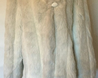 Gorgeous Gray White Jordache Fur Vintage Coat