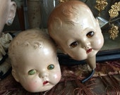 Reserved Listing Two Vintage Doll Heads With Issues They Fit Right In