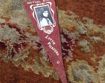 The Glam Of The Silent Films Antique Felt Movie Star Pennant