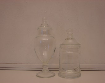 Vintage Clear Glass Containers / Candy Jar / Apothecary Jar / Candy Container