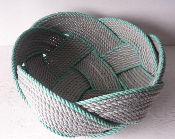 "Unique Rope Bread Basket Bowl 14"" x 8 ""   Centerpiece Nautical Decor Made in Alaska Choose Rope Colors"