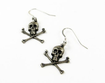 Skull Earrings - Halloween Jewelry with Skull and Crossbones - Goth or Gothic Earrings with Pirate Style Skeleton Head