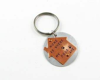 Dog Owner Keychain - Home Is Where My Dogs Are - Funny Pet Gift with Paw Prints