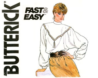 Womens Blouse Pattern Uncut Bust 34 Butterick 4548 1980s Long Dolman Sleeve Loose Fitting High Collar Evening Blouse Vintage Sewing Patterns
