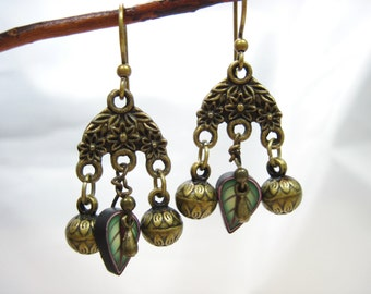 Green & Rose Polymer Clay Leaf and Brass Floral Chandelier Earrings