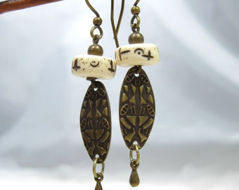 Carved Bone and Brass Shield Earrings