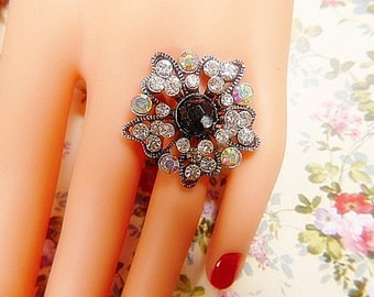 HUGE Vintage Rhinestone Ring With Black Bead Center -- Size Adjustable - Large Vintage Cluster Ring - Rhinestone Ring - R-280