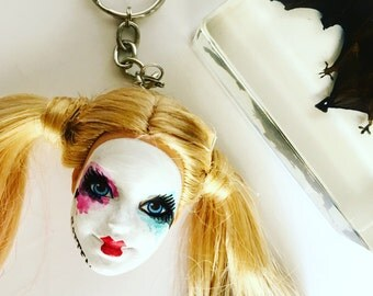 Harley Quinn Doll Head Keychain Batman Joker Suicide Squad Keyring Key Chain Straight Hair