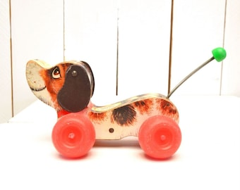 Fisher Price Little Snoopy 1960s Vintage Wood Dog Pull Toy with Wagging Tail