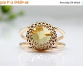 WINTER SALE - Citrine ring,rose gold ring,gemstone ring,November birthstone,Rose gold Citrine jewelry,vintage ring