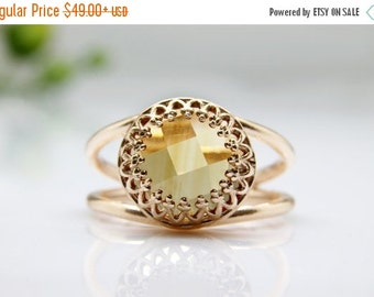 SUMMER SALE - Citrine ring,rose gold ring,gemstone ring,November birthstone,Rose gold Citrine jewelry,vintage ring