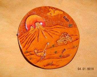 Tooled Leather Coaster or Ornament Desert Scene Jeep 4 X 4 Road Runner Cactus Desert Exploring Camping Sunset OOAK Mesa Clouds Hand Crafted