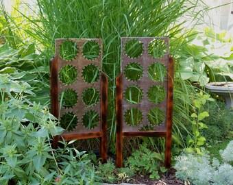 Garden Decor Steel and Cedar Small Accent Pieces,  Small Unique Garden Art