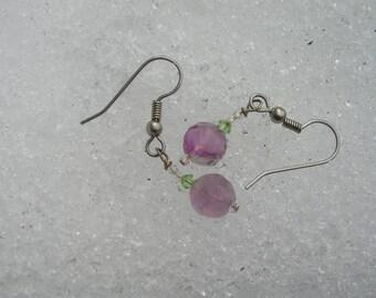 five dollar earrings, five dollar gifts, flourite earrings, flourite, purple flourite, Swarovski crystals, green Swarovski beads