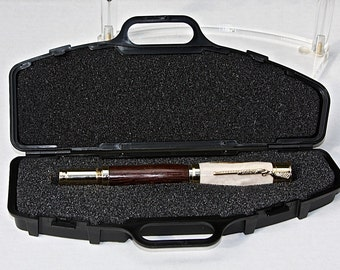 Over Under Shotgun, Deer Antler and Wenge 30 Caliber Rollerball bullet Pen