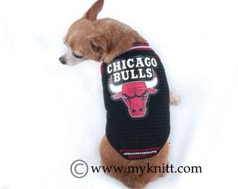 Chicago Bulls Dog Shirts NBA Basketball Jerseys for Pets Handmade Crochet Chihuahua Clothes Cat Clothing DK803 by Myknitt - Free Shipping
