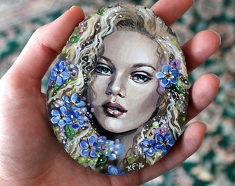 """Original Art, """"Forget-me-not Fairy"""" by Kamille Freske, fantasy art, fairy art, Victorian fairy, faerie painting, small painting, wiccan art"""