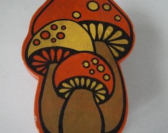 Groovy 1960's Hand Painted Mushroom Hand Stapler / Pencil Sharpener