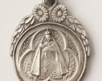 "Vintage our Notre Dame of Marienthal Religious Medal Pendant on 18"" sterling silver rolo chain"