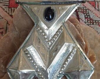 Tuareg Silvermix Amulet Large Khomissar/ Khomeissa Hamza with Onyx incl. Leather Necklace