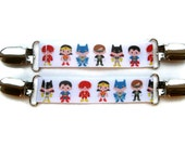 Comic Book Superhero MITTEN CLIPS- Kids Mitt Clips- Childrens Mitten Clips- Mitten Leash- Glove Clips- Kids Jacket- Winter Jacket- Kids Gift
