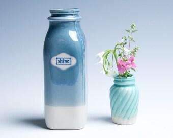 "Ceramic Porcelain Vase / Milk Bottle / Small / Blue and Purple ""Shine"""