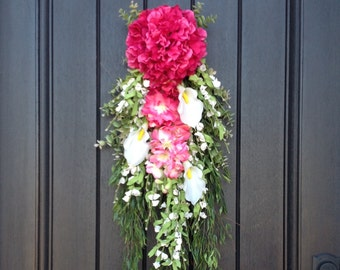 Spring Wreath Summer Wreath Teardrop Vertical Door Swag Decor Pink Hydrangea Wispy Floral Swag Door Decoration Calla Lilies White