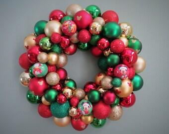 Christmas Wreath MICKEY MOUSE Wreath DISNEY Wreath Red Gold Green Christmas Ornament Wreath