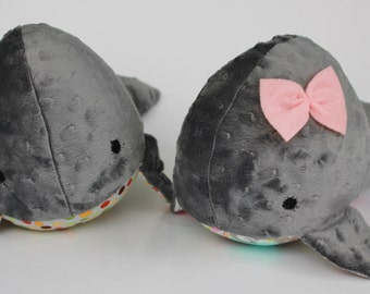 Cuddly Stuffed Whale - you choose color