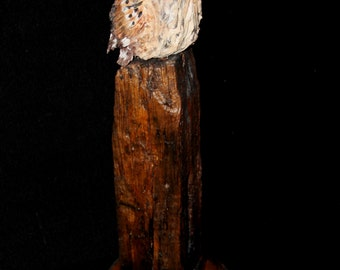 Bird Clay Ceramic Carving Sculpture -  Owl - Original Hand Carved Bird Sculpture