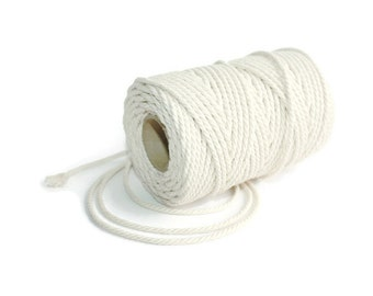 2,3 mm Cotton Rope = 1 Spool = 50 Meters = 55 Yards Natural and Elegant COTTON Twisted CORD - Natural Soft White - Macrame Cord