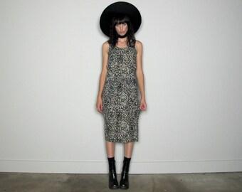 Waist Tie CONTEMPO Casuals Midi Dress 90s Print Vintage Womens Size S/M