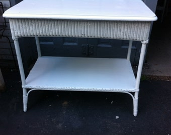Vintage White Wicker Console Table