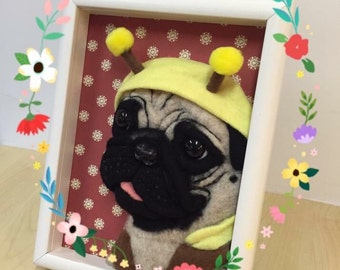 Needle wool felt of a 3D Pug head on  picture frame.