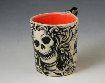 Black and white bird cup with black birds and skull demitasse size