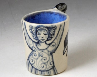 Blue and white porcelain bird wing OOAK demitasse cup with dancing girl