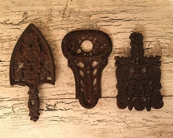 Collection of 3 Vintage Cast Iron Trivets - Rustic, Rustic, Primitive  - Farmhouse Decor