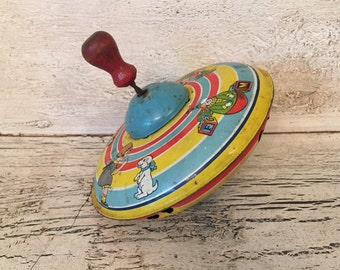 Vintage Toy Tin Top - 1950s Litho J. Chein Top - Vintage Nursery, Play Room Decor - Baby Shower