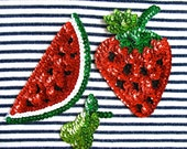 Sequin Patches, Set of fruit  (pear, watermelon slice and strawberry)