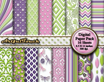 Digital Paper Purple Green Digital Paper Pack, Digital Scrapbook Paper Pack Printable Digital Paper Party Scrapbook Paper - INSTANT DOWNLOAD