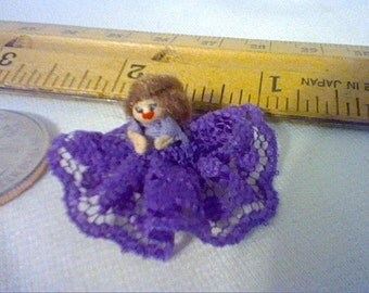 Tiny Dollhouse miniature bed doll with purple lace dress to sit on a 1:12 scale doll bed