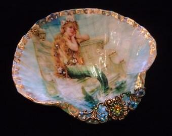 Little Mermaid Shell Jewelry Dish Ring Dish Trinket Dish Shell Art