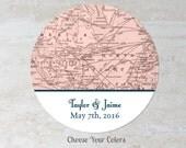 Travel Theme Favor Label - Vintage Map Wedding Sticker - Baby Bridal Shower Label - Treat Bag Label - Welcome Bag Label - Choose Your Colors