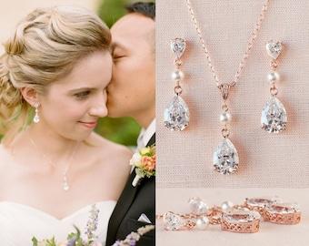 Crystal Bridal earrings, Rose Gold Wedding jewelry Swarovski Pearl Wedding earrings, Bridal jewelry SET, Crystal Drop and Pearl SET