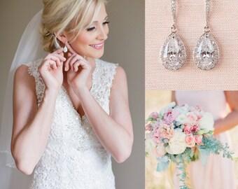 Crystal Bridal earrings  Wedding jewelry Swarovski, Crystal Wedding earrings Bridal jewelry, Ariel Drop Earrings