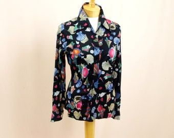 70s Novelty Print Shirt * 1970s Polyester Shirt *Disco Blouse * Black Blouse * Sea Shell Blouse * Tami Blouse